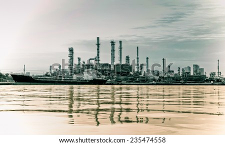 Oil refinery or petrochemical industry in thailand. for Logistic Import Export background. - stock photo