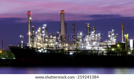 Oil refinery or petrochemical industry with ship in thailand.for Logistic Import Export background