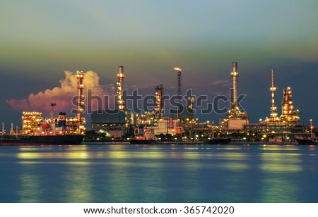 Oil refinery or petrochemical industry with ship in thailand. for Logistic Import Export background