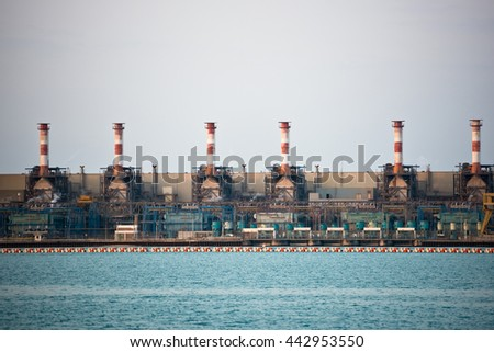 oil-refinery petrochemical chemical industry fuel distillation of petrol industrial - stock photo