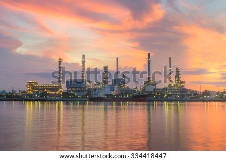 Oil refinery  petrochemical plant at sunrise