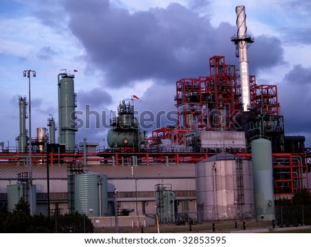 Oil refinery, petrochemical production facility, Edmonton, Alberta - stock photo