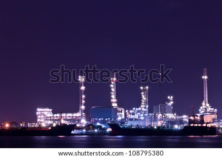 Oil refinery plant along river in Bangkok