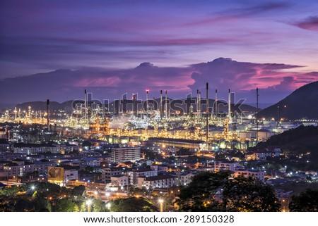 Oil refinery plant area at twilight : 5 JUNE 2015 - stock photo