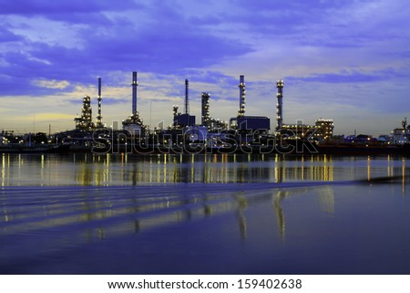 Oil Refinery plant area at twilight morning