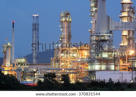 Oil refinery plant at twilight time - stock photo