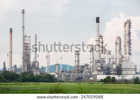 Oil Refinery Plant in filed - stock photo