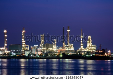 Oil refinery plant in the dawn. Bangkok, Thailand