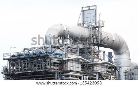 oil refinery plant machine part with white isolated background.