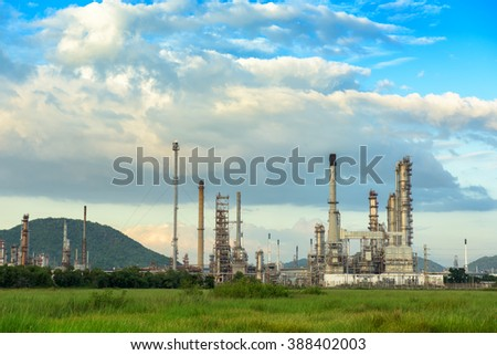 Oil refinery plant on blue skies background.