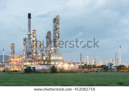 Oil refinery plant tower - petrochemical industry
