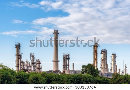 oil refinery plant with blue sky