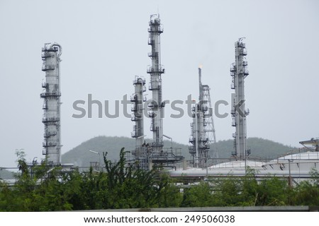 oil refinery plant with sky cloudy