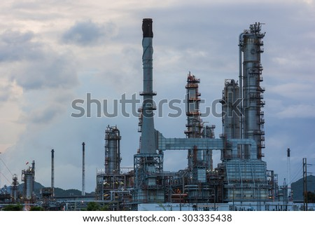 Oil refinery power station at sunrise at Chonburi of Thailand