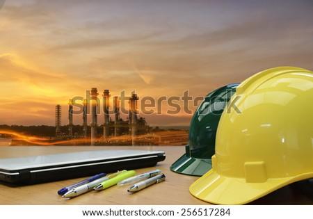 Oil ,Refinery ,Power work Safety helmet . - stock photo