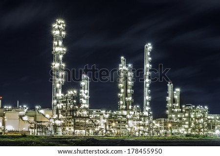 Oil refinery seen in night time