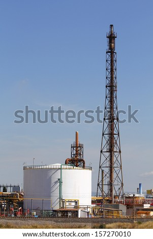Oil refinery smoke stack