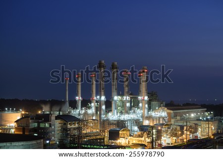 Oil Refinery twilight light in thailand industrial. - stock photo