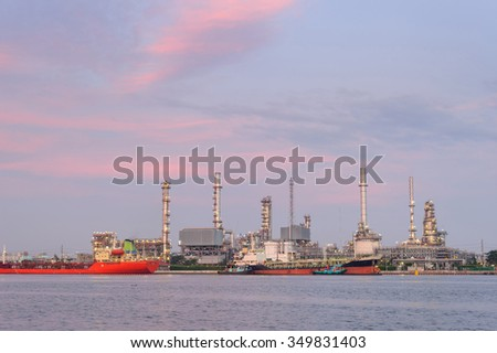 Oil refinery, twilight time