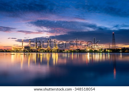 Oil Refinery with twilight morning