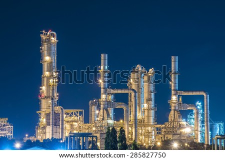 Oil Refinery with twilight sky - stock photo