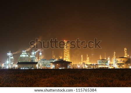 Oil Refinery Working  in night