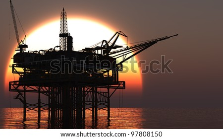Oil Rig at late evening