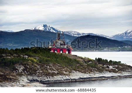 Oil rig drilling platform - stock photo
