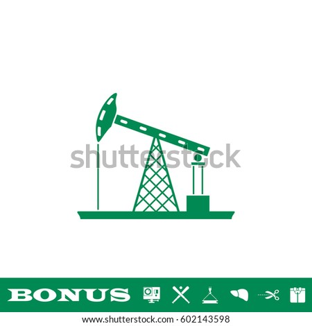 Oil Rig icon flat. Simple green pictogram on white background. Illustration symbol and bonus button