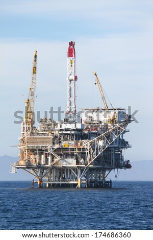 Oil Rig in the chanel island near Ventura California. - stock photo