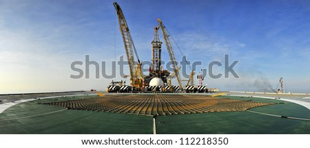 Oil Rig Panoramic - stock photo