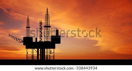 Oil rig platform on the sea for energy industry