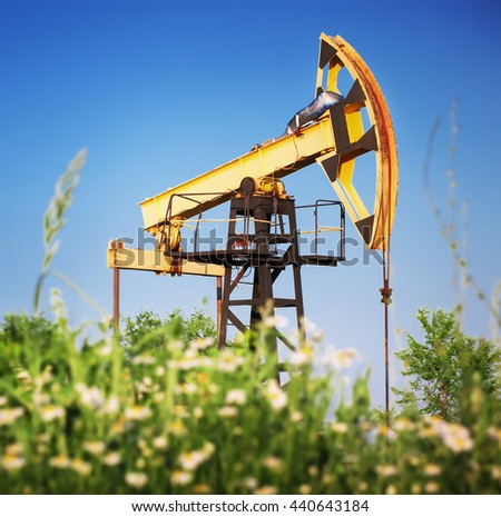 oil rig pumpjack - stock photo