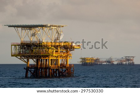 Oil rigs in the South China Sea - stock photo