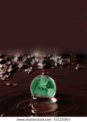 oil spill and earth globe