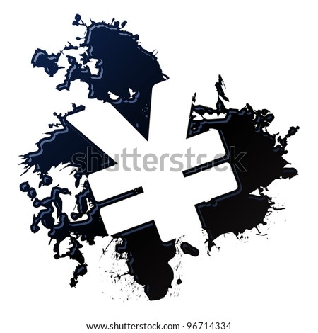 oil spill yen - raster - stock photo