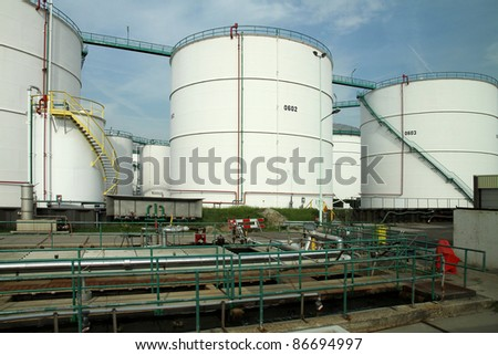 Oil storage facility in Rotterdam Harbour, one of the largest private storage facilities in the world.
