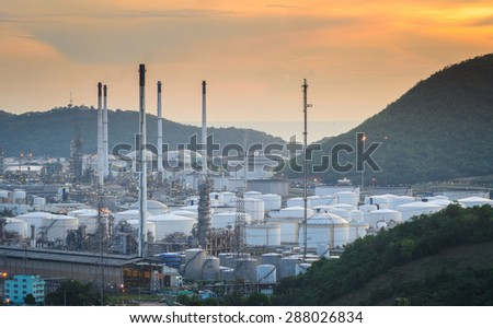 oil storage spheres tank in refinery plant at evening - stock photo