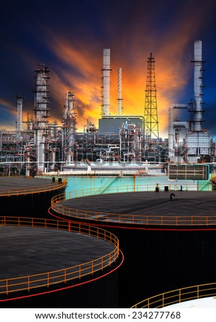 oil storage tank and petrochemical refinery plant  use for energy fuel gas and petroleum topic  - stock photo