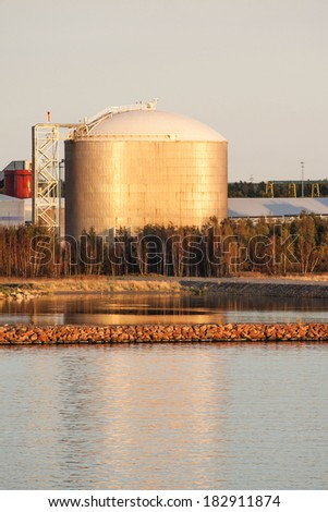 Oil Storage Tank in Middle of Nature - stock photo