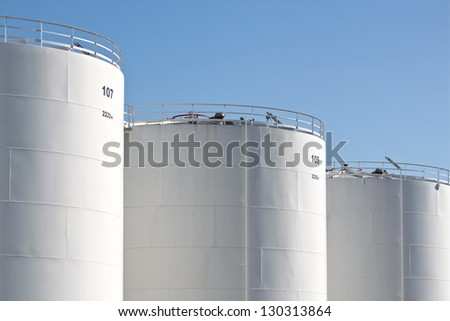 Oil storage tanks - stock photo