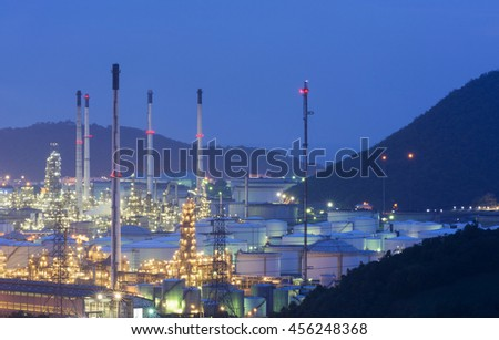 Oil storage tanks in the refinery factory , petroleum industry, petrochemical plant - stock photo
