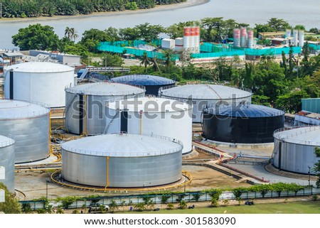 oil tank at bangkok Thailand - stock photo