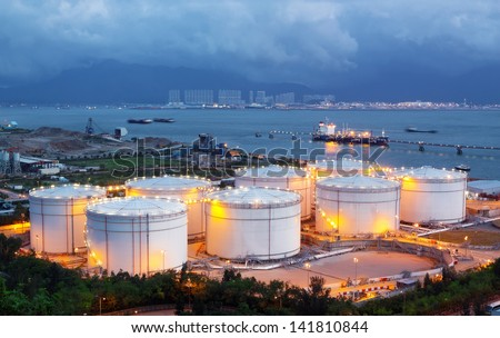 oil tank at night - stock photo