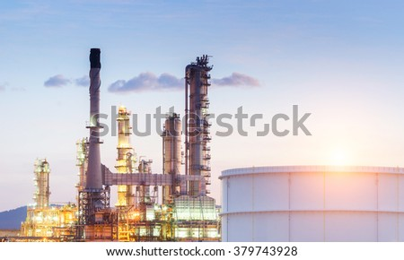 Oil tank in the refinery factory , petroleum , petrochemical plant - stock photo