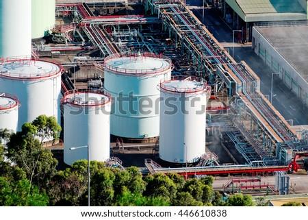 oil tank on oil refinery - stock photo