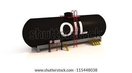 Oil tank on white background - stock photo