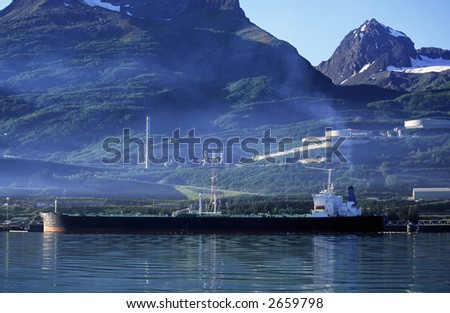 Oil Tanker at the refinery. - stock photo