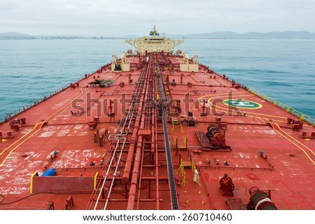 Oil tanker deck while calm weather. View from masthead. - stock photo