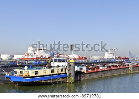 oil tanker in harbor of rotterdam netherlands - stock photo